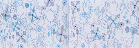 Full page of flowers and vines in blue and gray
